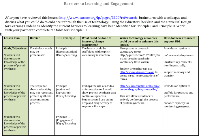 Barriers in lesson planning universal design for - Design and technology lesson plans ...
